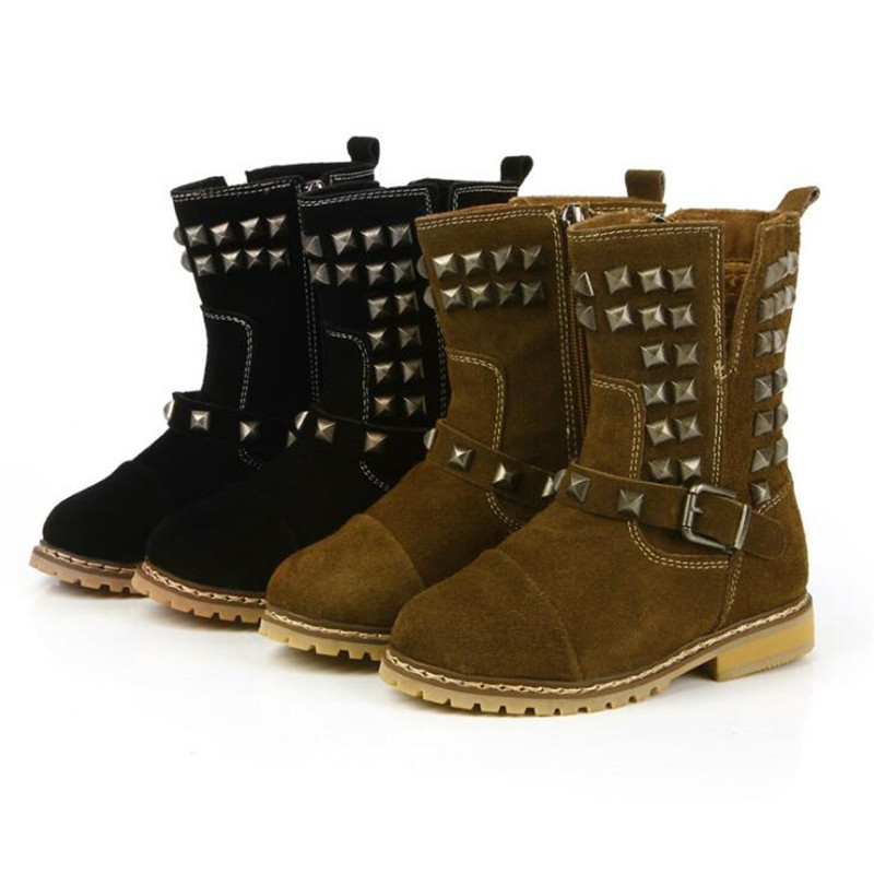 2017 Autumn Winter Childen girls kid Rivets Boots Nubuck Leather Martin Boots Fringe Flats Shoes Fashion Zip Solid Warm Botas<br>