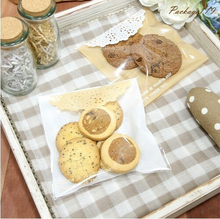 100pcs 10x13cm 10x10+3cm Yellow Half Round Lace Self Adhesive Bag Food Cookie Bag Plastic OPP Bag Jewelry Gift Poly Bag