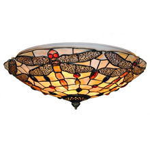 European Vintage Stained Glass Ceiling Lights Classic tiffanylamp Dragonfly Hanging Lamps Living Room Bedroom Lighting CL282(China)