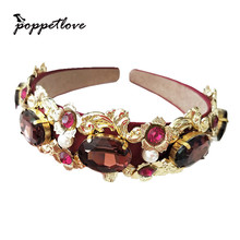New Design Catwalk Flower Baroque Headband Royal Crystal Queen Crown Headwear For Women Charm Tiara Wedding party Jewelry(China)