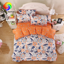 LUCKY TEXTILE bedding set king duvet cover set five size orange flower printed adult bedding queen bed sheet for Spring Summer