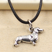 New Fashion Tibetan Silver Pendant dog Necklace Choker Charm Black Leather Cord Factory Price Handmade jewelry(China)