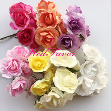144pcs 3cm Handmade Artificial Mini Mulberry Paper Rose Flowers For Scrapbooking Gift Box Hair Garland Wedding Decoration