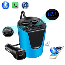 2017 FM Transmitter MP3 Music Player Bluetooth Car Kit HandsFree call Cigarette Lighter Adapter Splitter 2 Ports USB Charger(China)