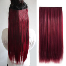 Wine Red Synthetic 5 Clip In Hair Extensions Hairpiece Long Straight Natural Hair Extension 60cm Women's  HJL2017