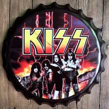KISS Rock Band Metal Bottle Cap  Star Music Wall Bar Party Home Decor  Art Painting  Unique Gift 40CM T-6