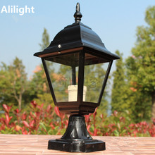 Vintage Column Head Light Outdoor Pillar Lamp Waterproof IP68 Landscape Lighting Railing Garden Fixture 15W E27 Metal Home Decor(China)