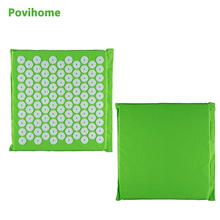 Povihome Massage Cushion Acupressure Mat Relieve Stress Pain Acupuncture Yoga Mat Health Care Light Green (Size 32*35cm) C1193(China)