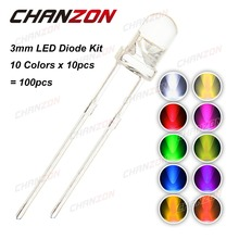 100pcs (10 colors x 10pcs) 3mm LED Diode Kit 3 mm 3V Set Light Emitting Warm White Green Red Blue Yellow Orange Purple UV Pink