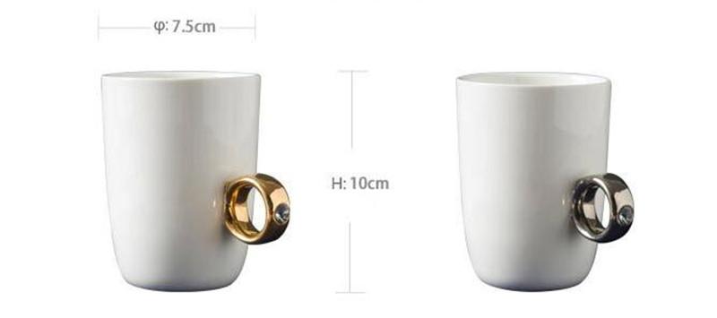 Creative Wedding Gifts Lovers Couple Cartoon Elegant Crystal Diamond Ring Mugs White Ceramic Cute Water Coffee Mug Drinkware1