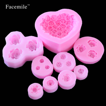 Facemile 9pcs/set DIY baking mold soap rose flowers chocolate mold soft silicone mold silicone soap molds 04055(China)