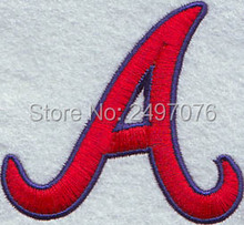 FREE Shipping custom embroidery patch for the red letter A with the blue outline logo as iron or sew on clothing