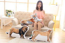 stuffed toy pillow 3D coloured cartoon animal tiger,zebra,giraffe,plush toy zipper closure soft throw pillow birthday gift b1385(China)
