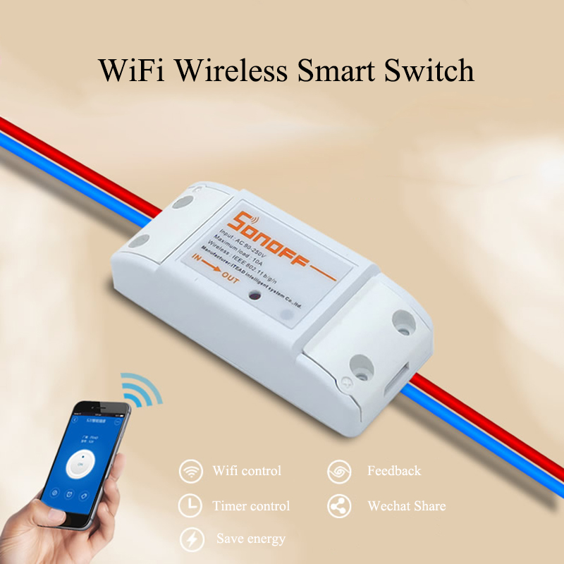 2016 New Popular Sonoff - Intelligent WiFi Wireless Smart DIY Switch 433Mhz rf  For MQTT COAP Android IOS Wifi Remote Control<br><br>Aliexpress