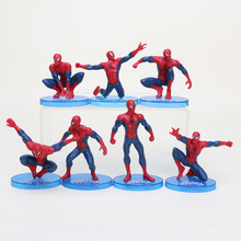 7pcs/set Red Spiderman action figures toy versions for kids New Superhero spider man figurins DIY brinquedos party supplies(China)