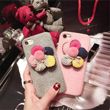 New Luxury Plush Flower Protective Cover 3G Stereo Protective Case for Apple iPhone 6 6s 6Plus 7 7Plus Shockproof Free Shipping