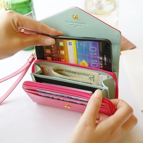New Fashion Wallet Purse Lovely Cute Candy Color Case Protector Bag for Cellphone Cards Portable 9 color High Quality Hot -47(China (Mainland))