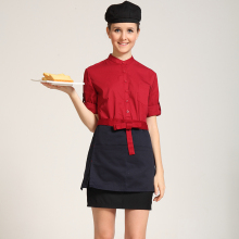 women fashion chef uniform short apron restaurant uniform aprons chef coverall high quality brand uniforms family chef clothes(China)
