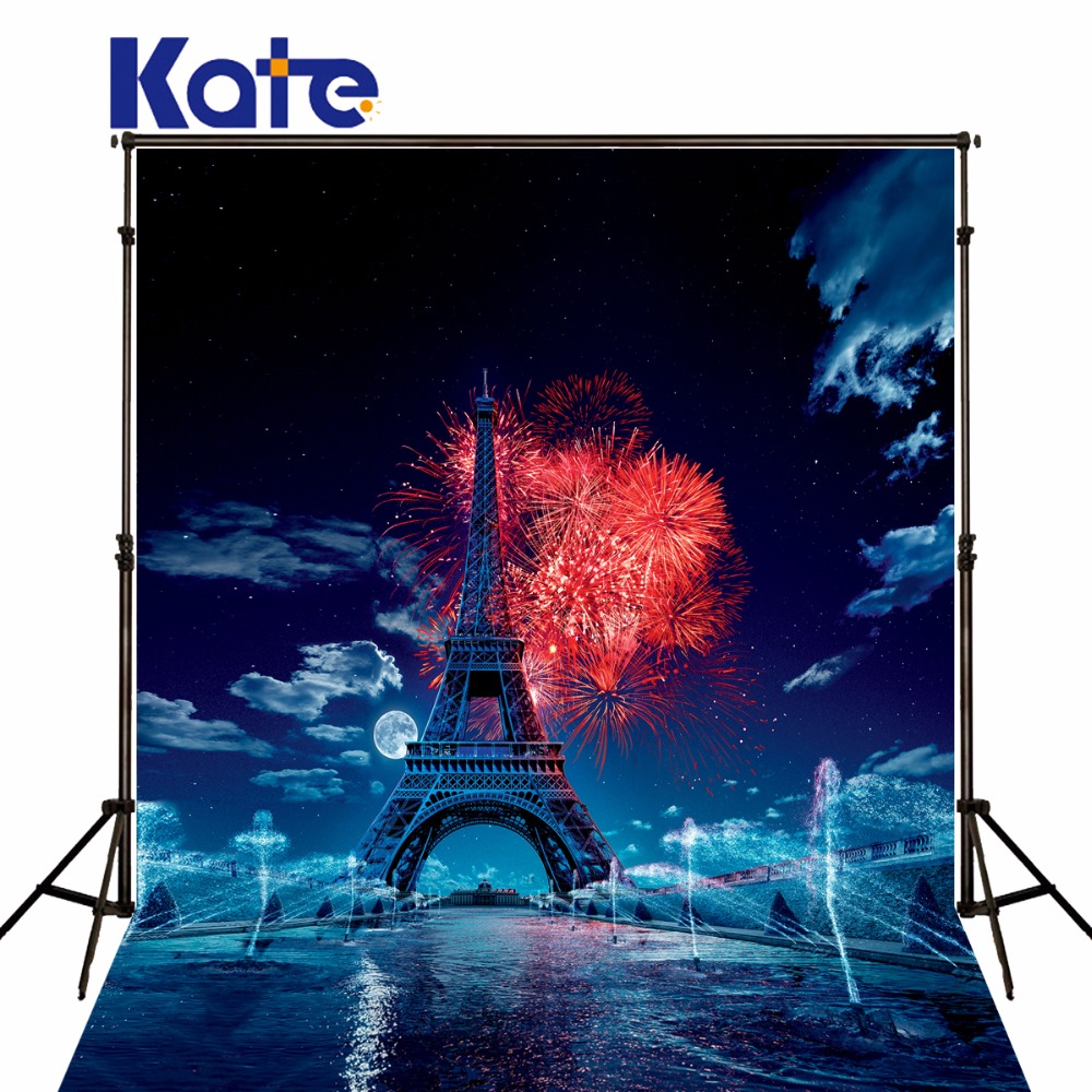 KATE 5x7ft Eiffel Tower Photography Backgrounds Fireworks Scenery Backdrops Firecracker Wedding Backdrop for Baby Photo Studio<br>