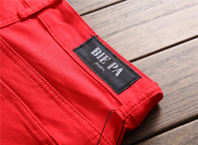 Biepa Mens Hi Street Ripped Biker Jeans Pants With Ankle Zipper Straight Stretch Red Motorcycle Denim Trousers Leather Patchwork 17
