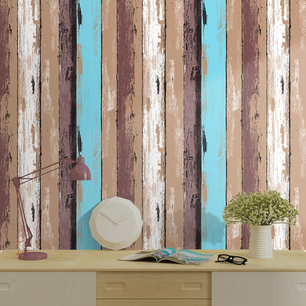VintagWood Panel Peel and Stick Wallpaper 23.6 x 19.7ft Dk.Red/Blue/Brown/Off White Self Adhesive Contact Wall Decor<br>