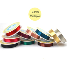 10pcs Mixed Colors 0.3mm 28 gauge dia Copper Jewelry Making Beading Wrapping Wire 21m Dead Soft Artistic Metalic Wire Spool