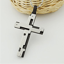 3 Colors Available Men Stainless Steel Cross Necklace Wholesale Cross Necklace Free Shipping OTN01