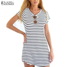 Zanzea Fashion Vestidos 2016 Summer Style Women Casual Black White Stripe Dress Short Sleeve O Neck Mini Dress Plus Size