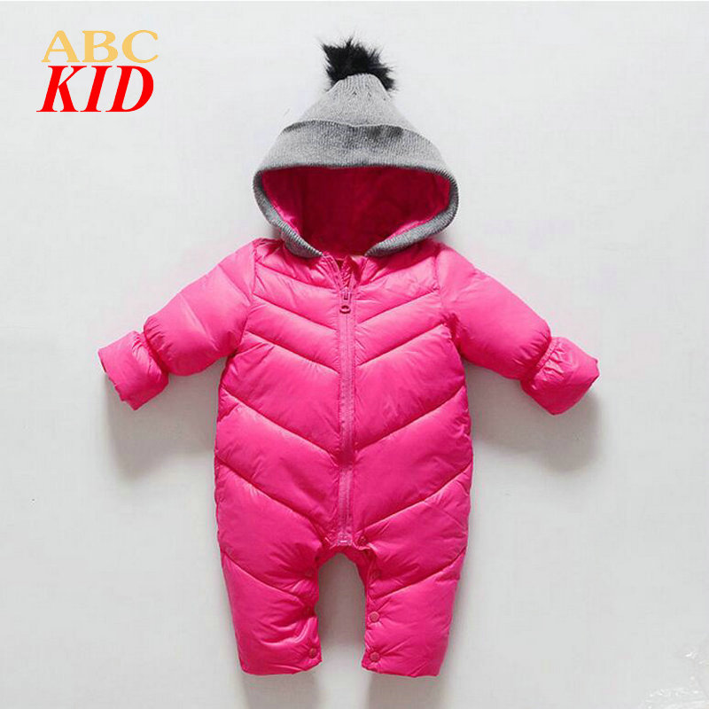 New Year Rose Hooded romper for girls Quality rompers with pompom Eiderdown cotton winter baby jumpsuit baby snowsuit KD066<br><br>Aliexpress