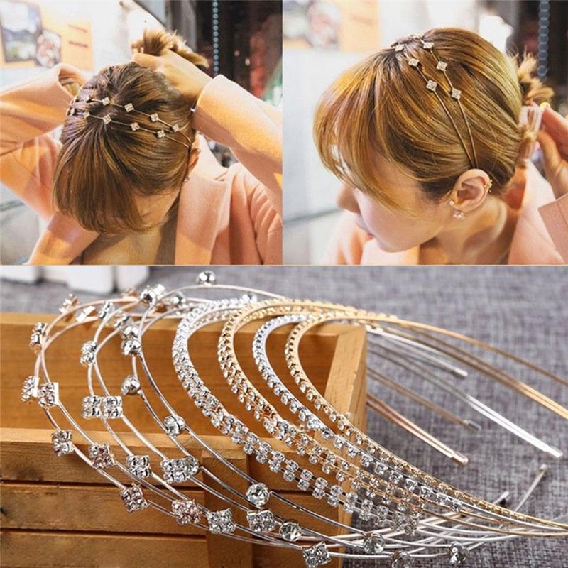 1 Pc Fashion Women Girl Lady Fashion Shine Metal Crystal Headband Head Piece Hair Band Jewelry