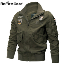 ReFire Gear Men Military Jackets Autumn Winter Cotton Army Jackets Male Casual Outerwear Clothes Tactical Air Force Pilot Coat(China)