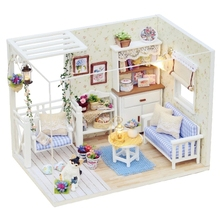 Kitten Diary Small DIY Wood Doll house 3D Miniature Dust cover+Lights+Furnitures Building model Home&Store decoration Adult toy