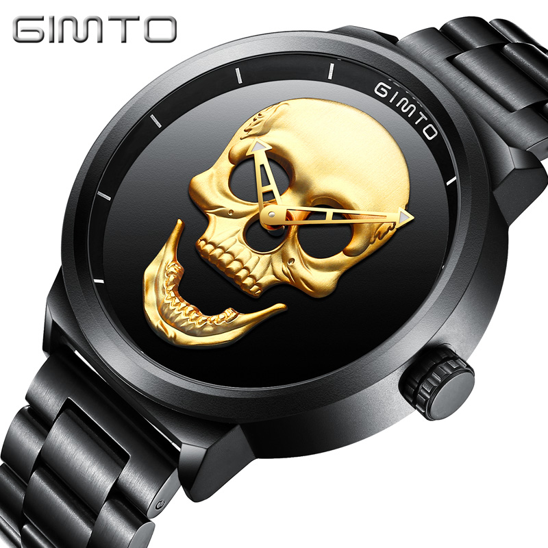Skull Watch Black Full Steel Unique Mens Wrist Watches Luxury Brand Men Waterproof Clock Casual Quartz Watch Relogio Masculino<br>