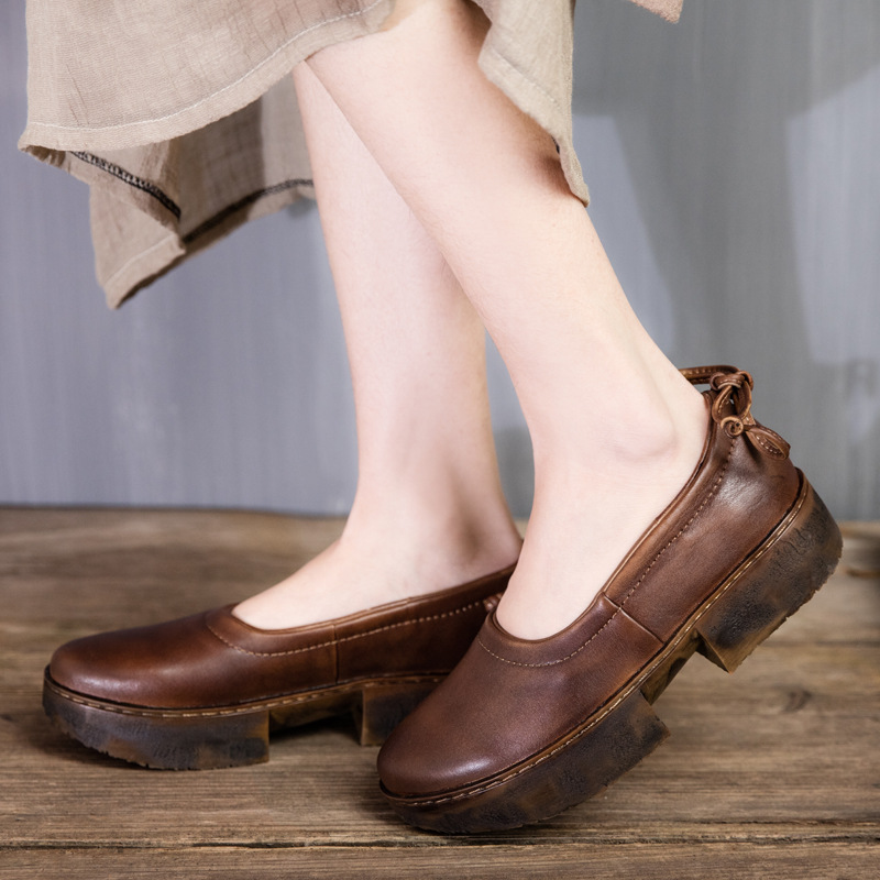 Genuine Leather Shoes Shallow Mouth Women Shoes 2017 Spring New Bow Low Heels Handmade Leather Shoes T1645-2<br><br>Aliexpress