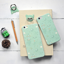 2017 New Original Brand and Design 1mm TPU Green Cosmos and Rocket for iphone 6 Cases with Finger Ring for Coque iphone 6s plus