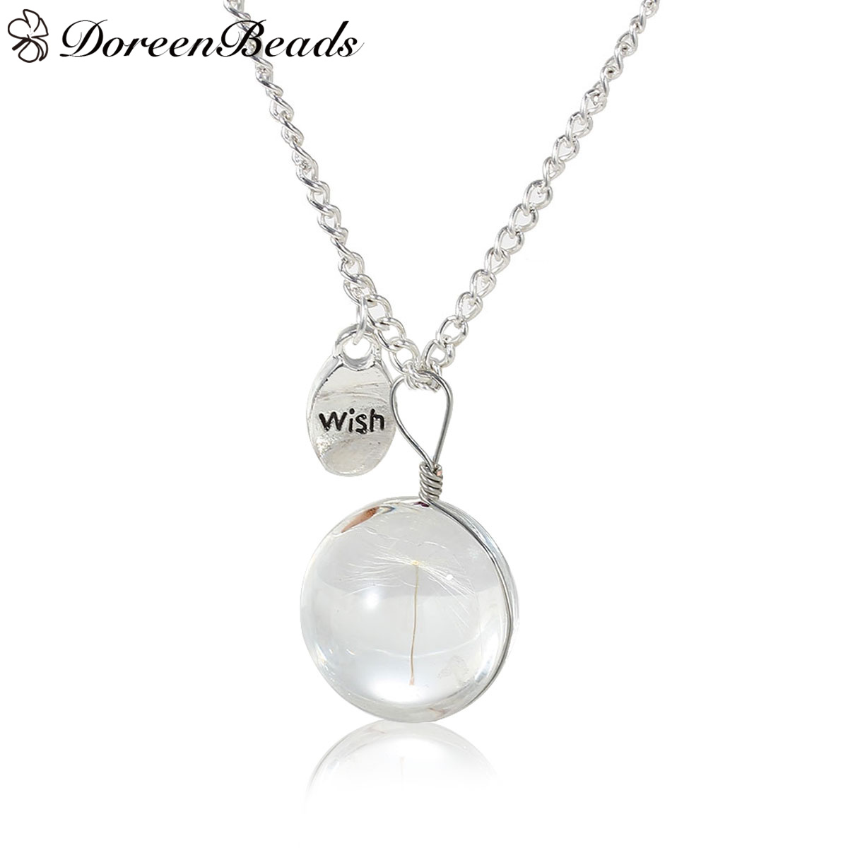 "DoreenBeads Real Dandelion Clear Glass Round Pendant Necklace Link Curb Chain silver color Oval Message""Wish"" 80.5cm,1 PC"