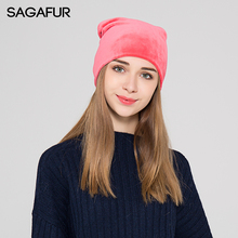 SAGAFUR Women'S Winter Hats Solid Black Flannelette Brand New Hot Sale Fashion High Quality 2017 Hat Female Skullies Bonnet(China)