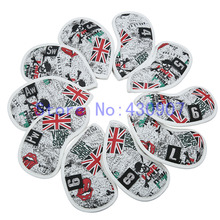 High Quality 10pc/Set UK Skull Iron Cover Golf PU Iron HeadCovers For Golf Iron Club 3-9 Pw Sw Aw