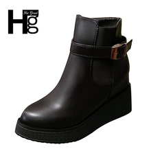 HEE GRAND Women Pu Leather Boots Quality Spring High Platform Autumn Bulk Winter Lady Girl Black Riding Rubber Shoes XWX6299(China)