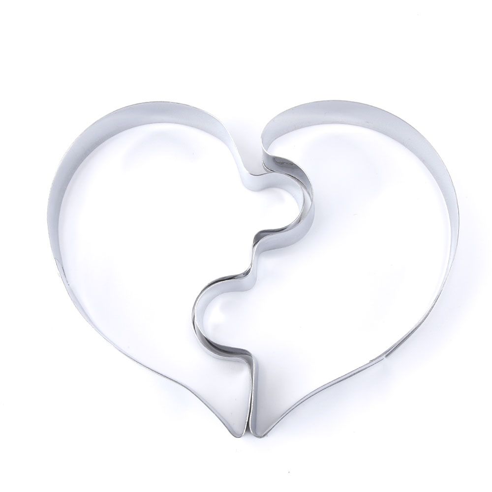 2-pcs-set-Heart-Cookie-Molds-Left-Right-Heart-Shape-Cookie-Cutter-Funny-Love-Puzzles-Romantic -