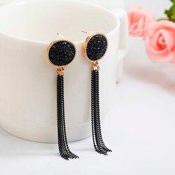 Женские длинные серьги с черными стразами