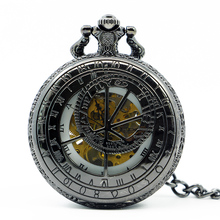 Mechanical Hand Wind Black Pocket Watch Steampunk Roman Numbers Steel Fob Watches PJX1243