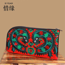 XIYUAN BRAND chinese Vintage Embroidery Linen Purse pure Handmade Embroidered flowers Women Wallet long Party Day Clutch Handbag