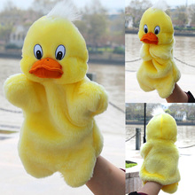 1Pcs Baby Plush Toys Duckling Hand Puppet Cartoon Animal Finger Puppet Hand Kids Learning & Education Toys Gifts Wholesale(China)