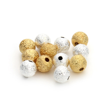 100pcs/lot 4/6/8mm Gold/Silver Round Copper Spacer Beads Frosted Ball End Seed Beads For Necklace Bracelet Jewelry Making F3461