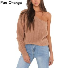 Fun Orange One Shoulder Winter Knitted Sweater Pullover Women Casual Streetwear White Jumper Autumn Loose Female Sweaters(China)