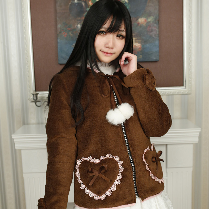 Bear ears hoody hoodies Lolita Cute Coat Fashion Parkas Soft Sister Brown Japanese Pullovers Fleece Winter Sweet Women JacketОдежда и ак�е��уары<br><br><br>Aliexpress