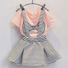 Summer Cute Girl Bow Print Clothes T-Shirt+Shorts Suspenders Skirt Suit Korean Baby Toddler Costumes Kids Set Children Clothin(China)