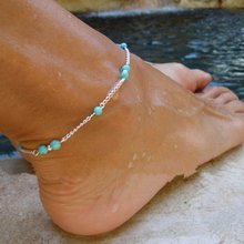 KUNIU 1pcs Hot Sale Fashion Women Anklets Foot Jewelry Unique Nice Beads Silver Chain Anklet Ankle Bracelet