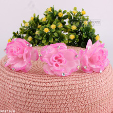 2016 Summer Style Exquisite Pink Crystal Petal Tuck Hairpins Women Flower Hair Pin Hair Clip Headwear Accesories(China)